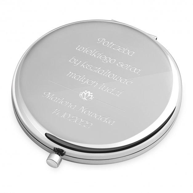 Lusterko okrągłe srebrne z grawerem dla nauczycielki na Dzień Nauczyciela
