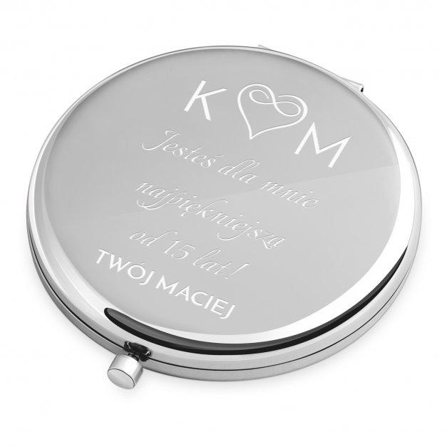 Lusterko okrągłe srebrne z grawerem dla żony na 15 rocznicę