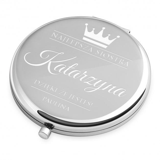 Lusterko okrągłe srebrne z grawerem dla najlepszej siostry