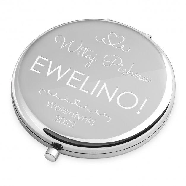 Lusterko okrągłe srebrne z grawerem dla niej na walentynki