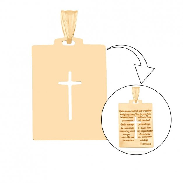 Złoty krzyżyk 585 krzyż PREZENT GRAWER PUDEŁKO