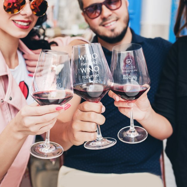 Kieliszek do wina KROSNO avant-garde z grawerem kieliszek terapeutyczny złamane serce dla singielki na rozwód rozstanie