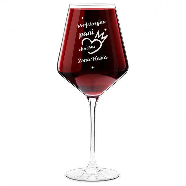 Kieliszek do wina KROSNO avant-garde z grawerem perfekcyjna pani chaosu dla żony
