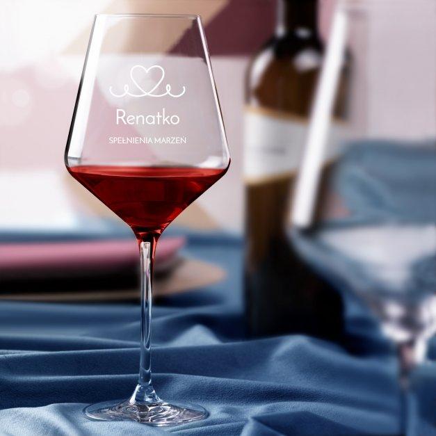Kieliszek do wina KROSNO avant-garde z grawerem spełnienia marzeń dla niej na walentynki panieński