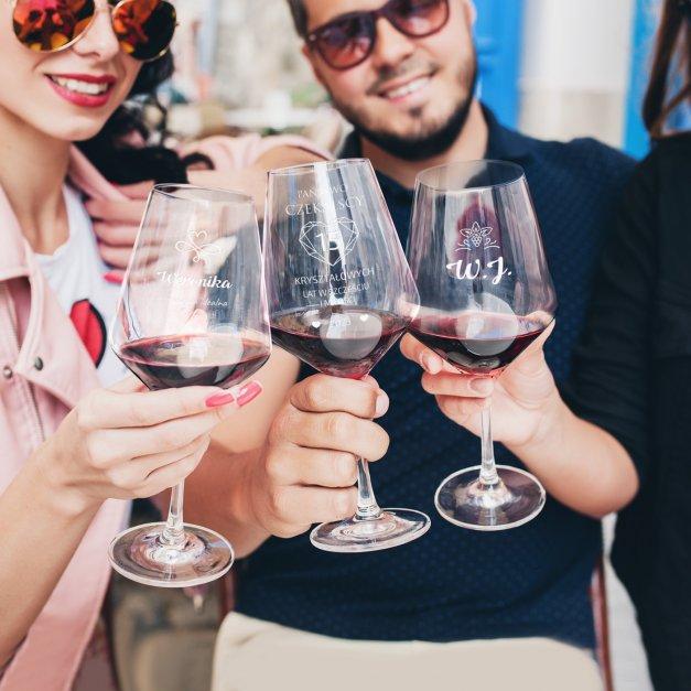 Kieliszek do wina KROSNO avant-garde z grawerem dla pary na 25 rocznicę