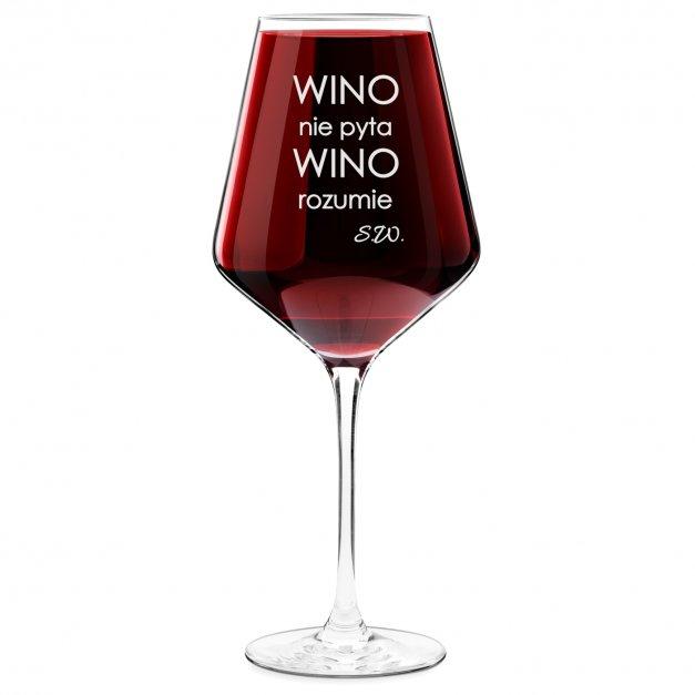 Kieliszek do wina KROSNO avant-garde z grawerem wino nie pyta wino rozumie dla niej