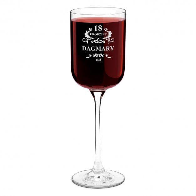 Kieliszek szklany do wina Glamour z grawerem dla niej na 18 urodziny