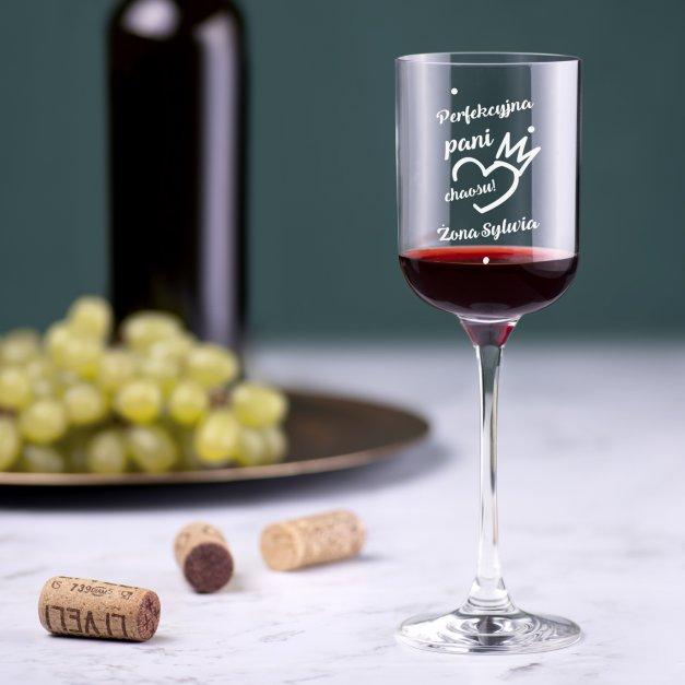Kieliszek szklany do wina Glamour z grawerem dla żony na walentynki rocznicę