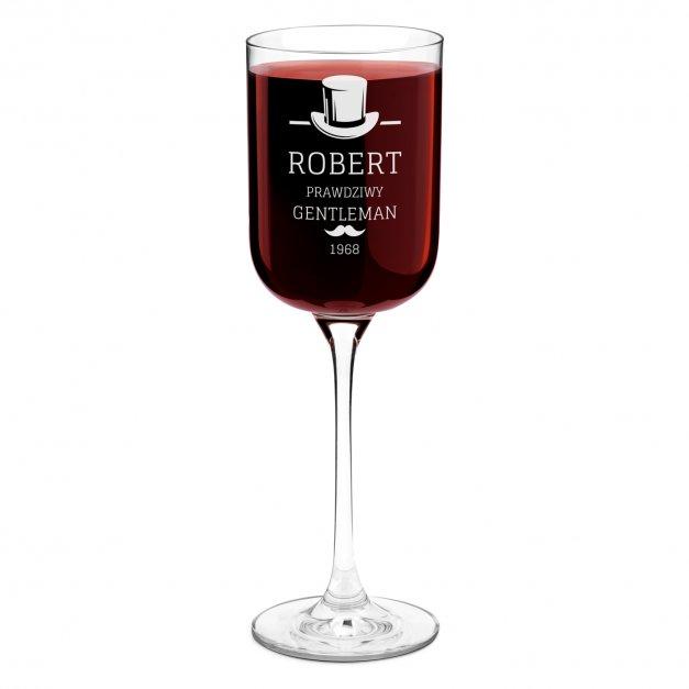 Kieliszek szklany do wina Glamour z grawerem dla gentlemana na urodziny