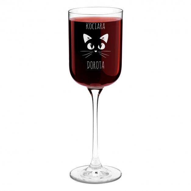 Kieliszek szklany do wina Glamour z grawerem dla kociary