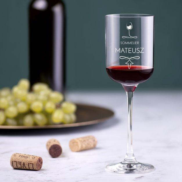 Kieliszek szklany do wina Glamour z grawerem dla niego sommeliera winiarza