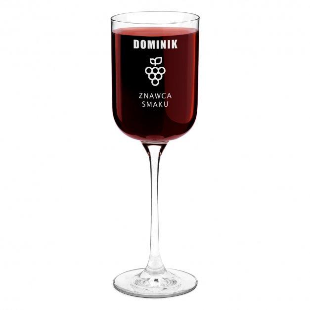 Kieliszek szklany do wina Glamour z grawerem dla niego znawcy smaku winiarza