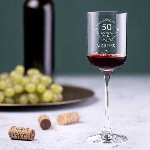 Kieliszek szklany do wina Glamour z grawerem dla pary na 50 rocznicę