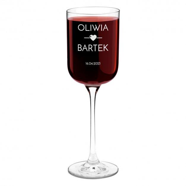 Kieliszek szklany do wina Glamour z grawerem dla pary na ślub rocznicę