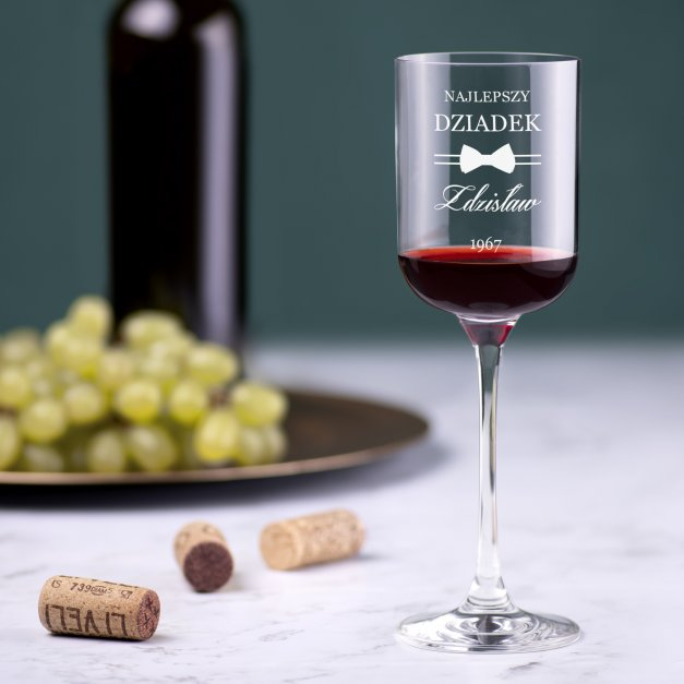 Kieliszki szklane do wina Glamour x6 z grawerem dla dziadka na urodziny
