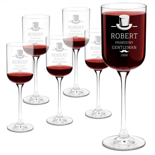 Kieliszki szklane do wina Glamour x6 z grawerem dla gentlemana