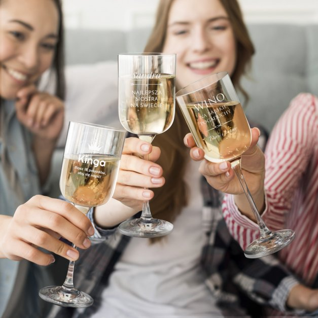 Kieliszki szklane do wina Glamour x6 z grawerem dla niej na święta