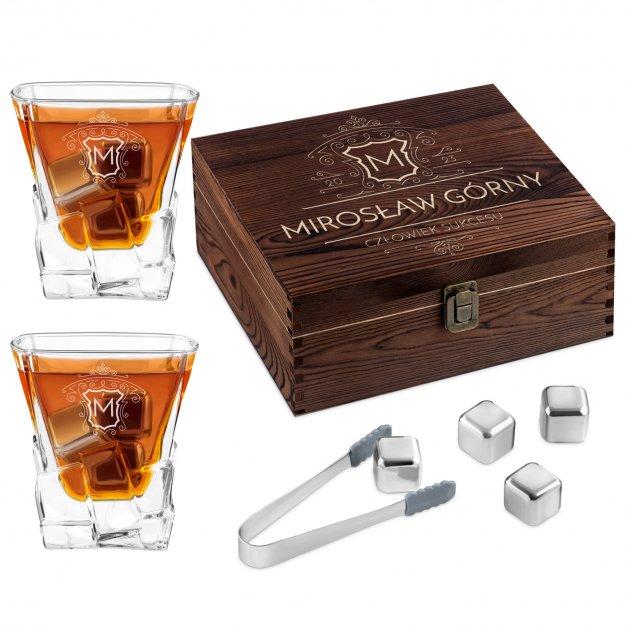 Zestaw kamienie kostki do whisky ze szklankami z grawerem dla niego na awans