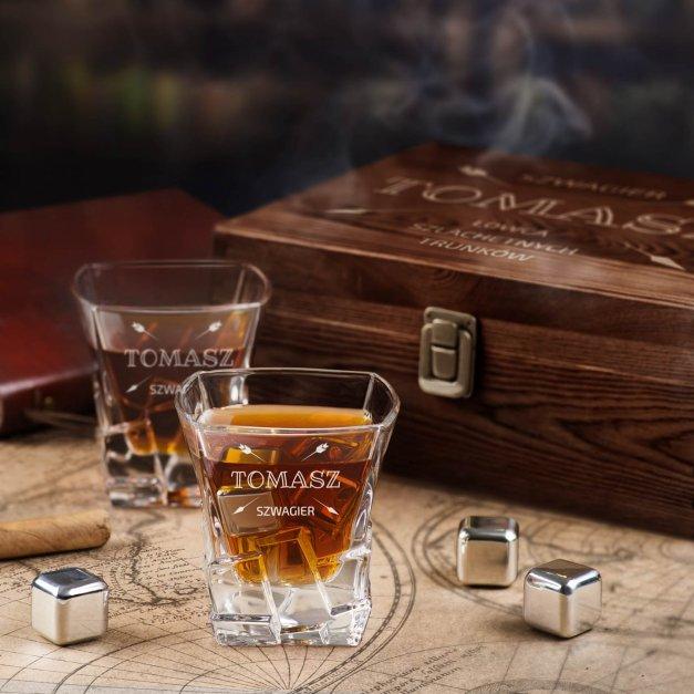 Zestaw kamienie kostki do whisky ze szklankami z grawerem dla szwagra