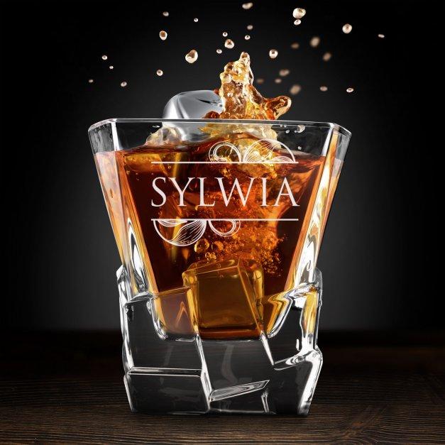 Zestaw kamienie kostki do whisky ze szklankami z grawerem dla niej