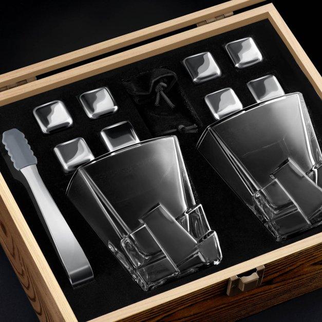 Zestaw kamienie kostki do whisky ze szklankami z grawerem dla świadka jako podziękowanie