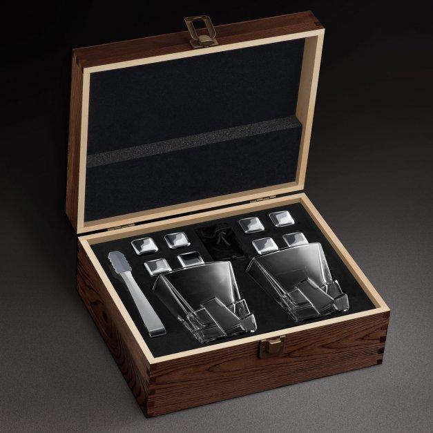 Zestaw kamienie kostki do whisky ze szklankami z grawerem dla majsterkowicza na urodziny