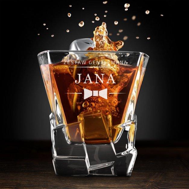 Zestaw kamienie kostki do whisky ze szklankami z grawerem dla gentlemana