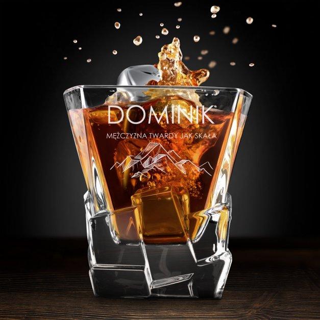 Zestaw kamienie kostki do whisky ze szklankami z grawerem dla miłośnika gór podróżnika na imieniny