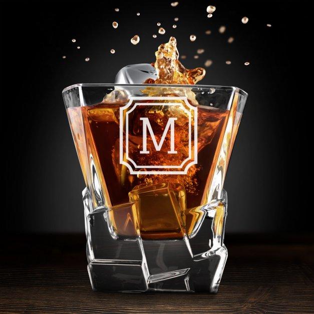 Zestaw kamienie kostki do whisky ze szklankami z grawerem dla niego na imieniny