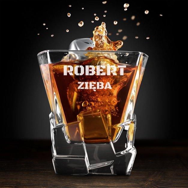 Zestaw kamienie kostki do whisky ze szklankami z grawerem dla gracza