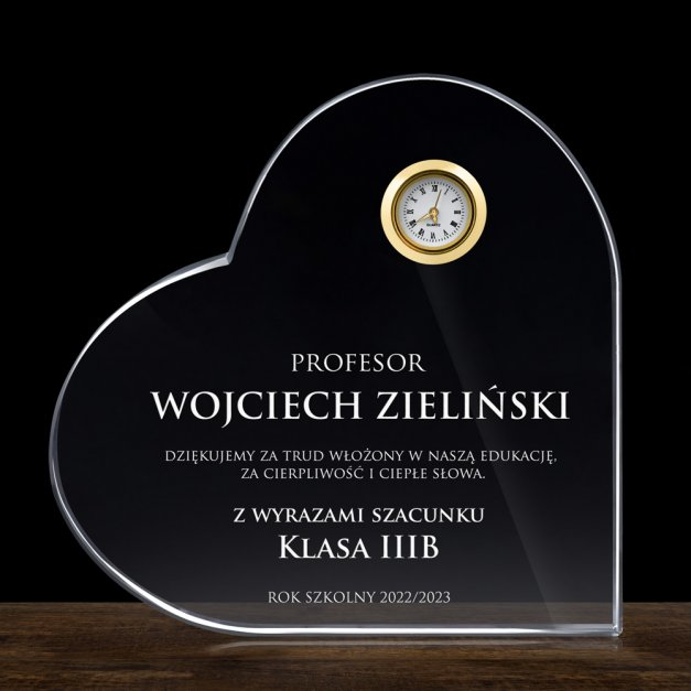 Serce kryształowe grawerowane z zegarem w pudełku z nadrukiem dla wychowawcy na Dzień Nauczyciela