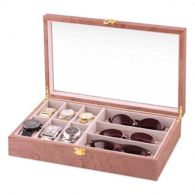 Szkatułka drewniana na zegarki i okulary z inicjały grawerem dla niej niego pary