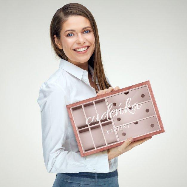 Szkatułka drewniana na zegarki i okulary z grawerem dla niej na imieniny