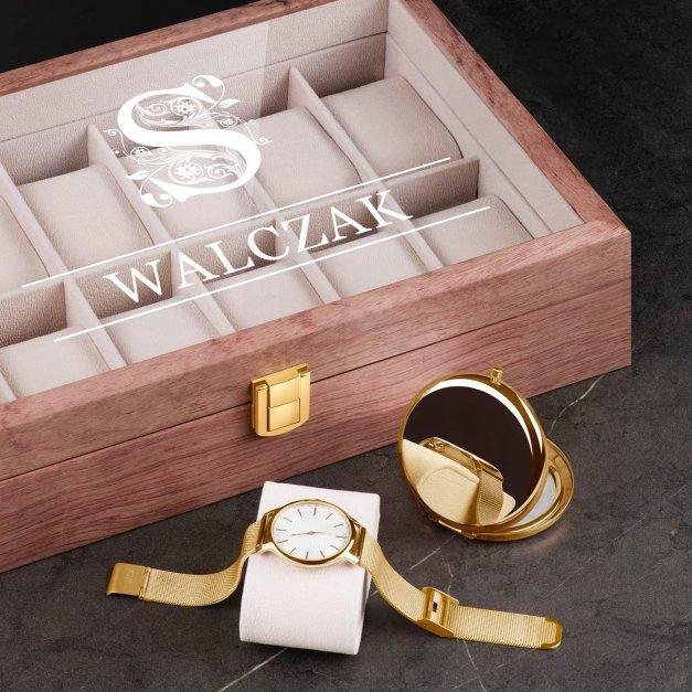 Szkatułka drewniana na zegarki z grawerem inicjał nazwisko dla niej niego pary