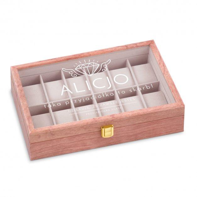 Szkatułka drewniana na zegarki z grawerem dla przyjaciółki świadkowej jako podziękowanie
