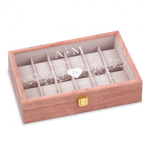 Szkatułka drewniana na zegarki z grawerem dla pary na 15 rocznicę