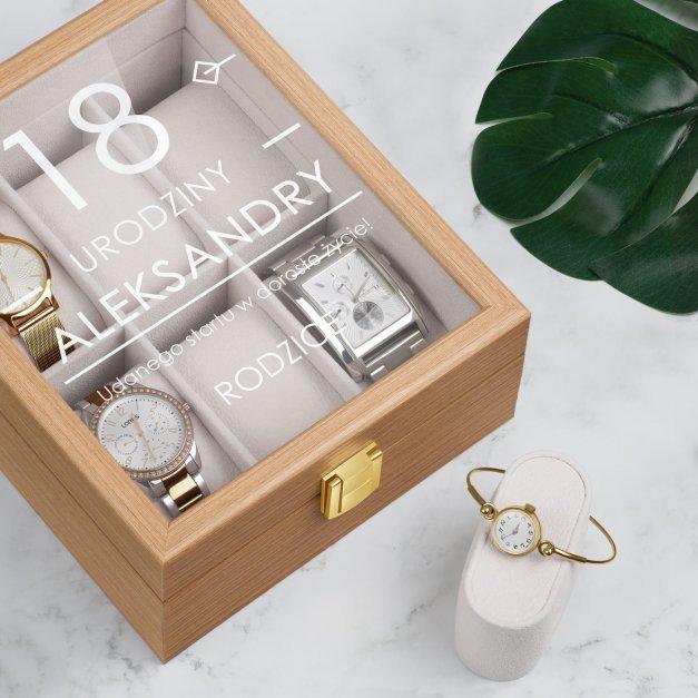 Szkatułka drewniana na 6 zegarków z grawerem dla córki na 18 urodziny