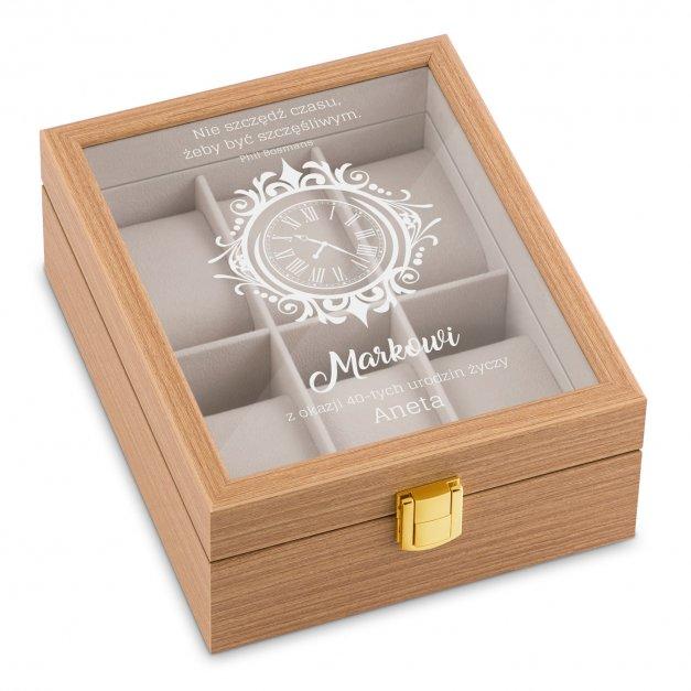 Szkatułka drewniana na 6 zegarków z grawerem dla niego na 40 urodziny