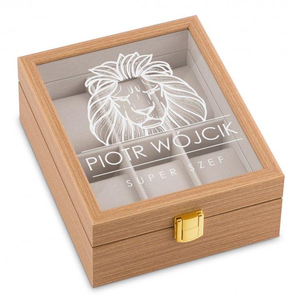 Szkatułka drewniana na 6 zegarków z grawerem dla szefa