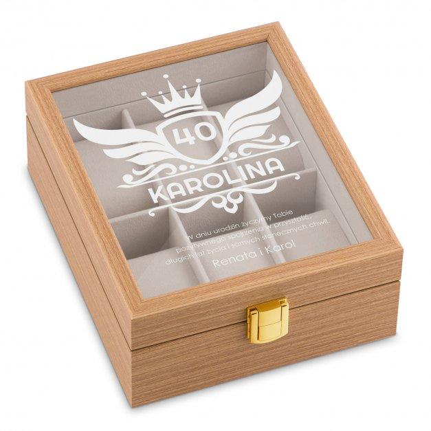 Szkatułka drewniana na 6 zegarków z grawerem dla niej na 40 urodziny