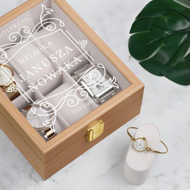 Szkatułka drewniana na 6 zegarków z grawerem dla dziadka na urodziny