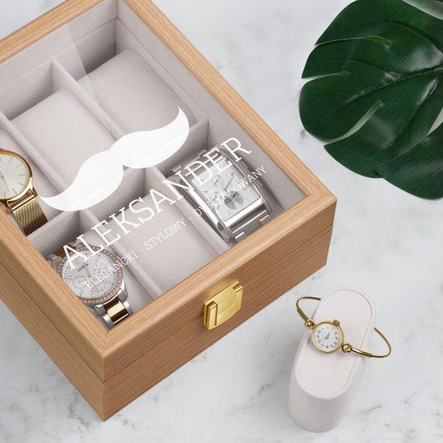 Szkatułka drewniana na 6 zegarków z grawerem dla gentlemana