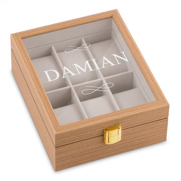 Szkatułka drewniana na 6 zegarków z grawerem dla niego na imieniny