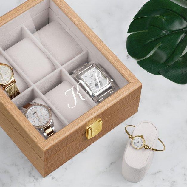 Szkatułka drewniana na 6 zegarków z grawerem inicjały dla niej niego