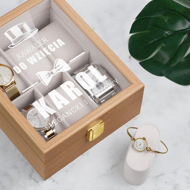 Szkatułka drewniana na 6 zegarków z grawerem dla niego kawalera singla