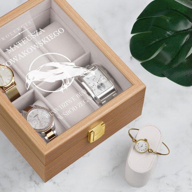 Szkatułka drewniana na 6 zegarków z grawerem dla niego