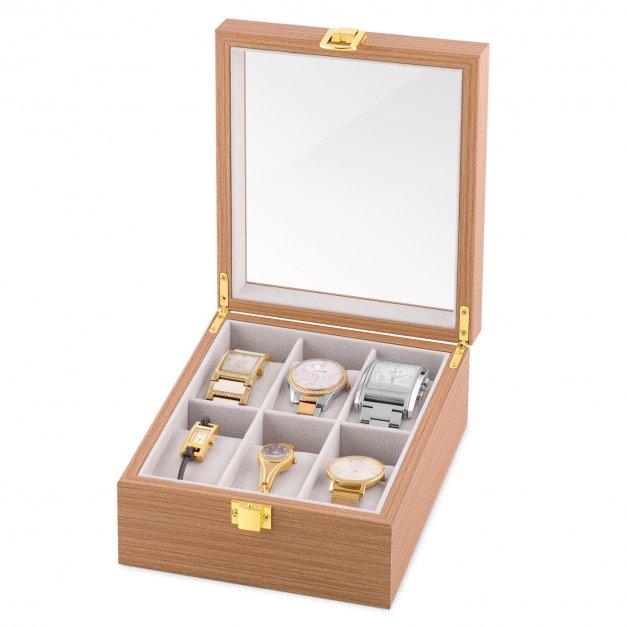 Szkatułka drewniana na 6 zegarków z grawerem inicjał dla niego niej pary