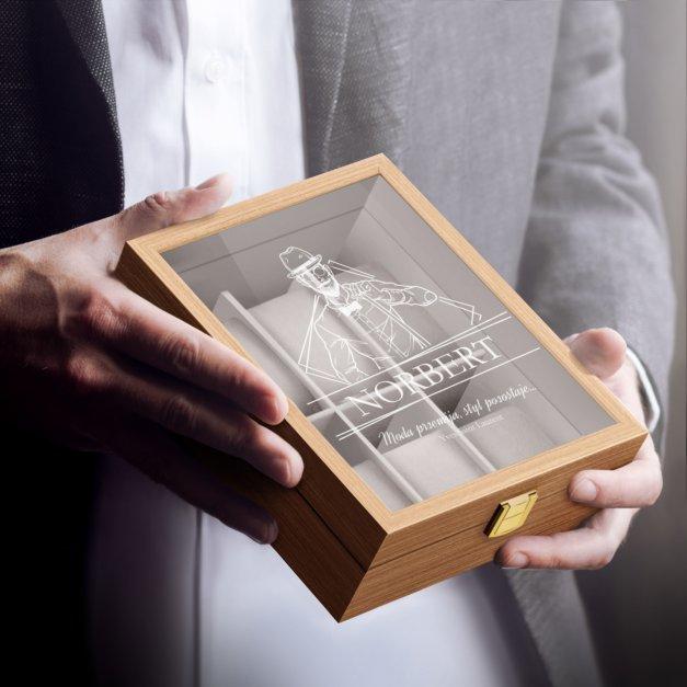 Szkatułka drewniana na 6 zegarków z grawerem dla gentlemana na urodziny