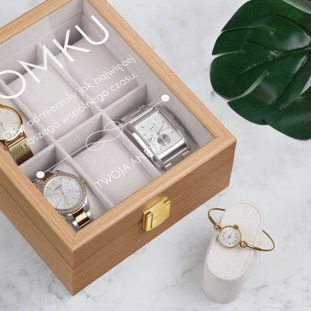 Szkatułka drewniana na 6 zegarków z grawerem dla niego chłopaka narzeczonego męża