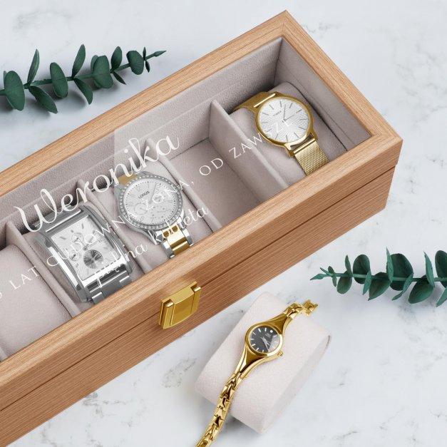 Szkatułka drewniana prostokątna na 6 zegarków z grawerem dla żony na 5 rocznicę